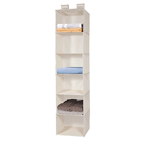 h Hanging Shelf for Closet Organizer with 2 Widen Straps, Foldable, Beige, 51.5 Inches High ()