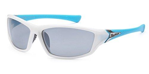 Women's Sport Wrap Around Running Cycling Sport Sunglasses- White & Blue