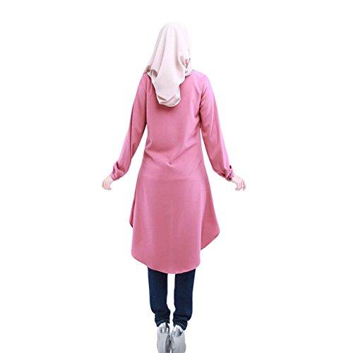 Zhuhaixmy Muslim Damen Lange Ärmel Große Yards Loose Hemd Kleid ...