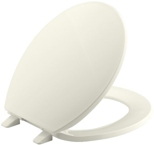 KOHLER K-4775-96 Brevia with Quick-Release Hinges Round-front Toilet Seat, Biscuit