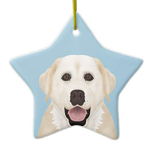 Lionkin8 Christmas Ornaments Yellow Labrador Retriever Cartoon Holiday Tree Ornament Both Sides Star Ceramic Ornament Crafts 3 inch
