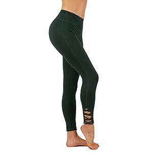 Vesi Star Yoga Pants Power FlexVesi Star Dry-Fit With Bottom CRIS Cross Leg Cutouts 7/8 Length Leggings Key Pocket (L USA 4-6, VS1321-OLV)