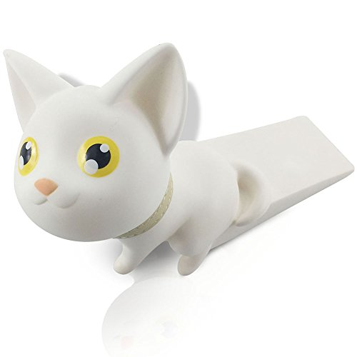 004 White Rubber - Cute Cat Door Stopper Wedge Finger Protector,  Works on All Surfaces, Non Scratching, Strong Grip (White)