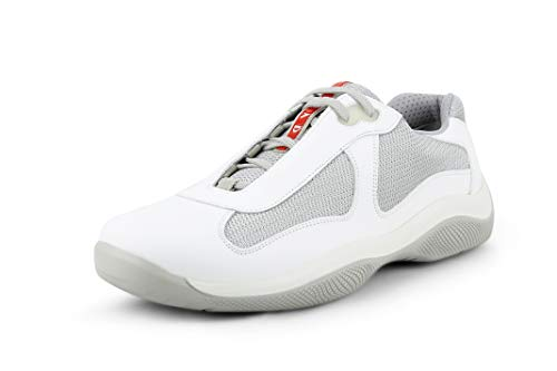 (Prada Men's 'America's Cup' Leather with Mesh Sneaker, White/Silver (10.5 US / 9.5 UK))