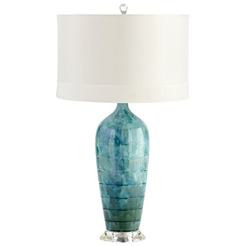 Cyan Design Elysia Ceramic Table Lamp - White Silk Shade wit