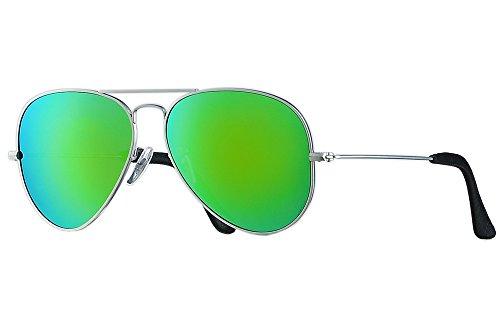 BNUS Italy made Aviator titanium sunglasses for men womens w. corning natural glass truecolor polarized (Truecolor Green Flash, Silver - Sunglasses Titanium Polarized