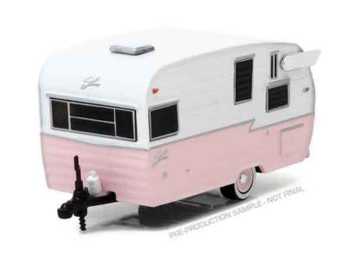 NEW 1:64 GREENLIGHT HOBBY EXCLUSIVE COLLECTION - PINK WHITE SHASTA 15' AIRFLYTE TRAILER Diecast Model Car By Greenlight