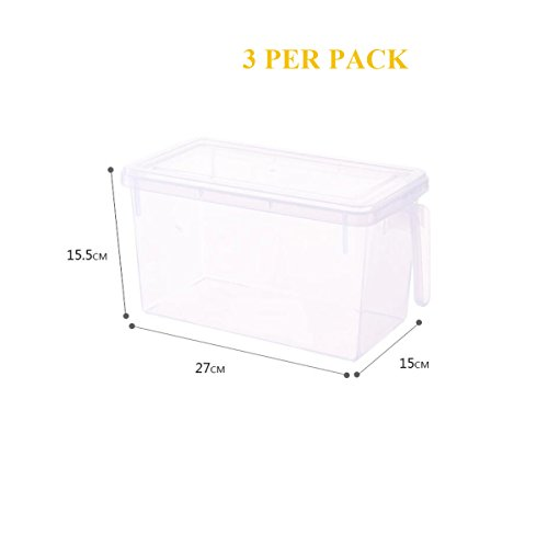 2018 New Pack of 3 Fridge and Freezer Pantry Organizer Bin Kitchen Vegetable Fruit Food Storage Bins Storage Container Freezer Cabinet Box with Lid & Handle- Clear, 12