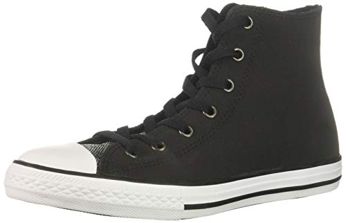 Converse Girls' Chuck Taylor All Star Glitter Leather High Top Sneaker Black/White, 2 M US Little Kid ()