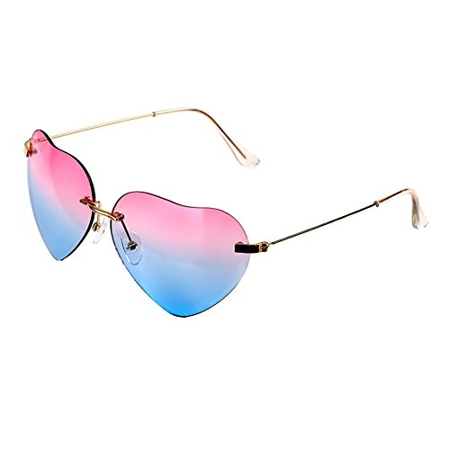Fashion women heart shaped Style Metal Frame Sunglasses Eyewear,Pink and - With Glasses Kid Express Polar