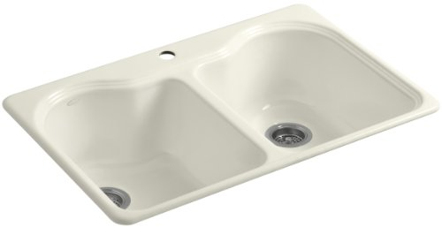 - Kohler K-5818-1-96 Hartland Self-Rimming Kitchen Sink with Single-Hole Faucet Drilling, Biscuit