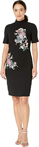 Tahari by ASL Women's Elbow Sleeve Embroidered Mock Neck Crepe Dress Black/Rose/Ivory 12 ()