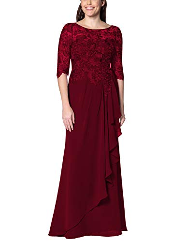 EDressy Chiffon Mother of The Bride Dresses Long Evening Formal Gowns Flora Lace Prom Party Dress Half Sleeves Burgundy US16W