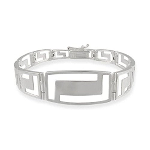 Sterling Silver Greek Key Link Bracelet, 7'' (Sterling Key 7' Silver)