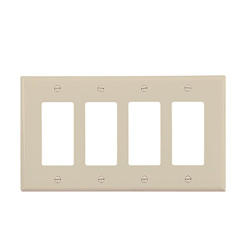 (Cooper Wiring Pj264v 4-gang Midsize Decorator/gfci Plate, Virtually Unbreakable, Ivory)