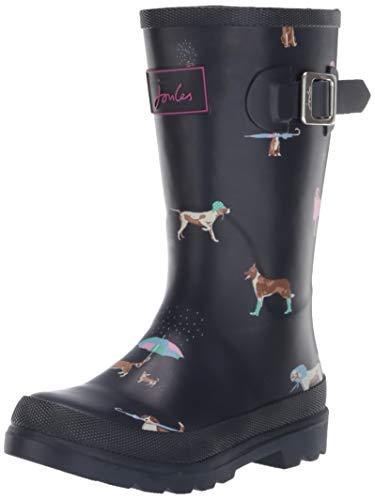 (Joules Girls' JNR Welly Print Rain Boot Navy Dogs, 2 M US Little Kid)