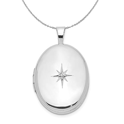 19mm Diamond Oval Locket in Sterling Silver Necklace - 16 -