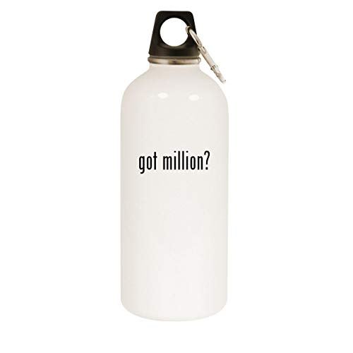 got million? - 20oz Stainless Steel White Water Bottle with Carabiner, White
