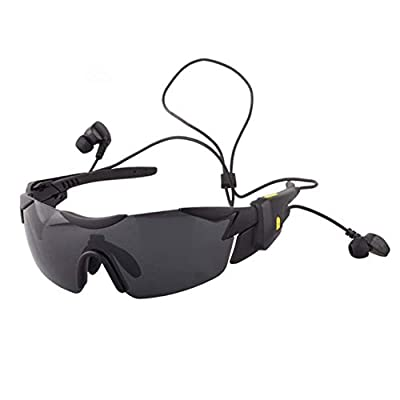 Sunglasses Headphone Bluetooth Glasses 4.1 Wireless Earphones Hands Free Calls, ZQYR Sun Glasses with Stereo Music for All Intelligent Phones and Other Device, Black