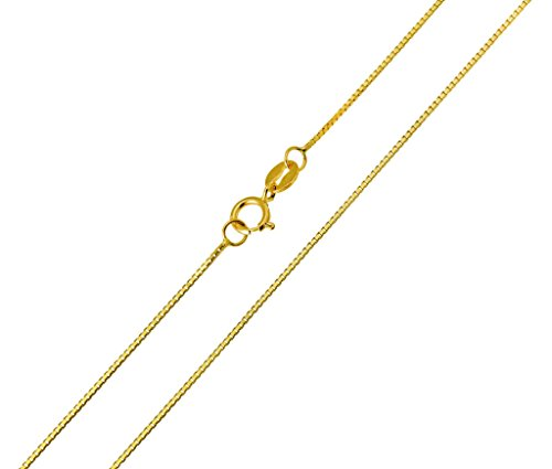 Paradise Jewelers 14K SOLID Yellow Gold 0.5mm Box Chain, Spring Clasp (22 - Paradise Spring Box