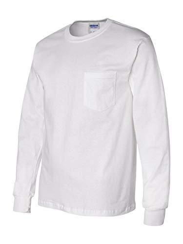 GILDAN Adult Ultra CottonTM Long-Sleeve Pocket T-Shirt>S White 2410