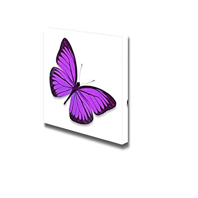 Made to Last, Pretty Expert Craftsmanship, Beautiful Flying Purple Butterfly on White Background Wall Decor