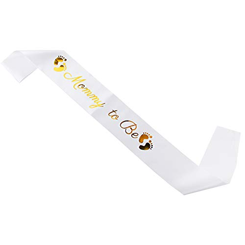 - Acharles Mommy to Be Sash - Baby Shower/Welcome Baby Party Decoration for Boy or Girl (Gold and White)