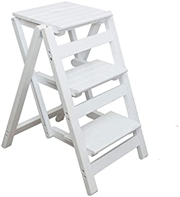 Three Wooden Step Stool White Wood Kids Toddler Children Folding 3 Step Stools For Kids Indoor Kitchen Adults Wooden Bathroom Handle Foldable Flower Rack Portable Ladder Stepping Chair Amazon Sg Home