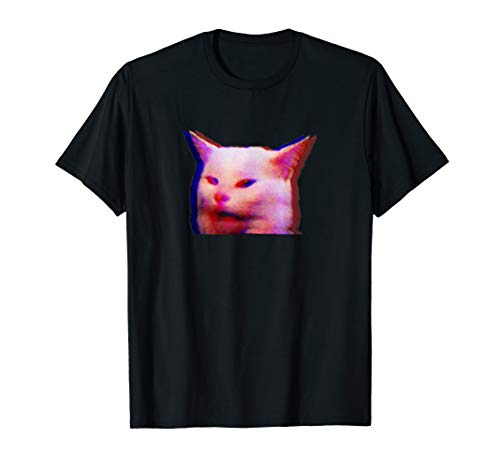 Glitch cat table meme woman yelling at table glitchy effect T-Shirt