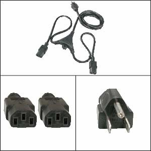 6Ft PC Y Power Cord 5-15P to C-13 Black SJT 18/3 - Slim Mount Coaxial Speakers
