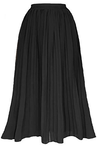 Black Pleated Chiffon - Gemolly Women's High Waist Pleated Skirt Vintage A-Line Chiffon Midi Skirts Black M