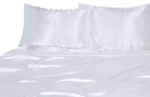 Elegance Linen ® Silky Luxurious Woven Satin SOLID 4-Piece Deep Pocket Sheet Set, Queen , White