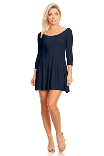 Sleeve and Sleeve 4 Line and Skater Size Short Plus and Navy Reg Flare Womens A 4 Dress Fit Casual 3 3 RXWEwwxqg