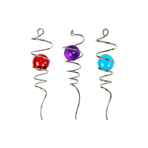 HomDSim 3PCS/Set Gazing Glass Ball with Spiral Tail Decorative Rotating Spinner for Indoor or Outdoor Hanging with Swivel Hook - 11