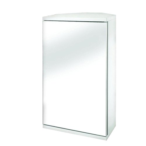 Croydex Simplicity MDF single Door Mirrored Corner Medicine Cabinet with Magnetic Push Catch Opening, White by Croydex