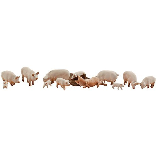 HO Scenic Accents Yorkshire Pigs & Piglets (12) HO Woodland Scenics