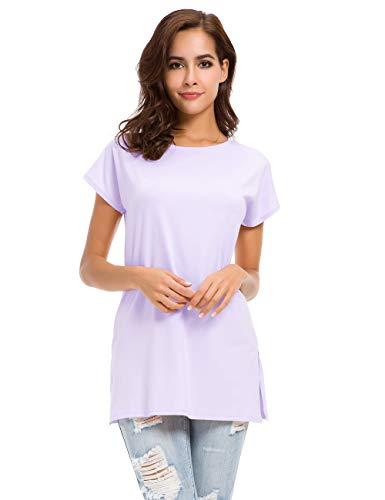 MSHING Women's Short Sleeve Tunic Tops Loose Casual T-Shirt Blouse (Large, 012-Purple)