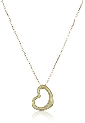 14k Yellow Gold Petite Heart Pendant Necklace, 18