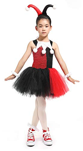 MOCUER Halloween Superhero Costumes for Girls Birthday Party Supergirl Costume Black and Red -