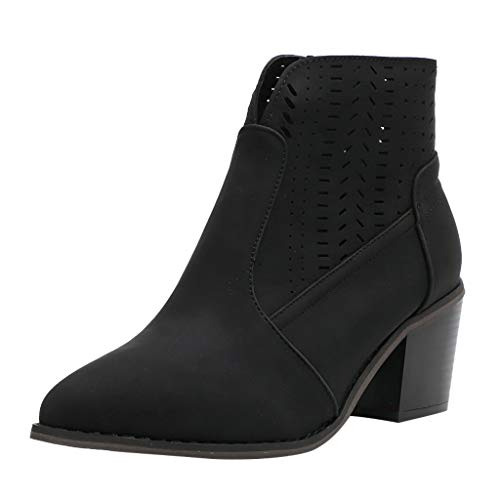 (Women's Wide Width Ankle Boots - Mid Chunky Block Heels Round Toe Slip on Side V-Cut Booties (US:9.0, Black -1))