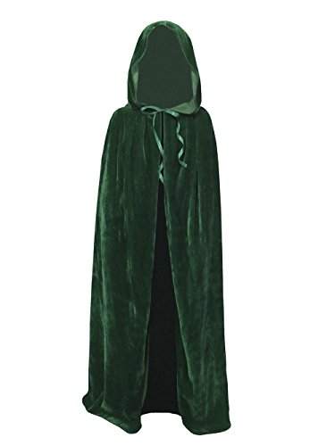 Kids Velvet Cape Cloak With Hood Unisex-Child Cosplay Halloween Christmas Costume (100cm/39.4inch, Green) (Medieval Girl Costume Ideas)