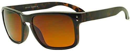 [Sunglass Stop - Mens Brown Tortoise Orange Blue Blocking Driving Square Sunglasses (Tortoise, Orange (Blue] (Google Glass Costume)
