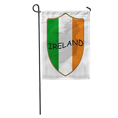 Semtomn Garden Flag Green Family Ireland Flag Shadow Badge Button Celebration Chalkboard Classic Home Yard House Decor Barnner Outdoor Stand 28x40 Inches Flag