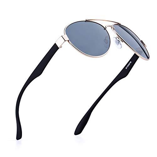 Classic Aviator Sunglasses For Men Dark UV400 Lens Matte Metal Frame(gold) (Schwarze Aviator Sonnenbrillen Für Männer)