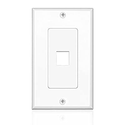 TNP Keystone Wall Plate (5 Pack) - Keystone Insert Jack Single Gang Wiring Plug Socket Decorative Face Cover Outlet Mount Panel with Screws White