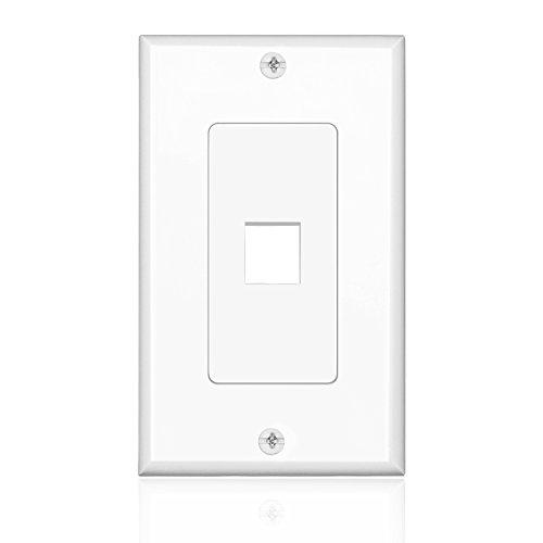 Network Covers Cable (TNP Keystone Wall Plate (5 Pack) - 1 Port Keystone Insert Jack Single Gang Wiring Plug Socket Decorative Face Cover Outlet Mount Panel with Screws White)