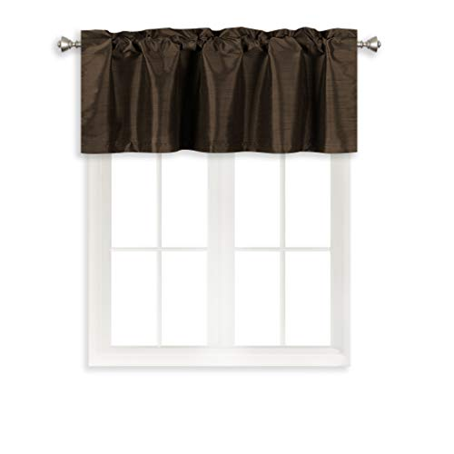 (Home Queen Solid Rod Pocket Blackout Curtain Valance Window Treatment for Living Room, Short Straight Drape Valance, 2 Pieces, 52 X 18 Inch, Brown )