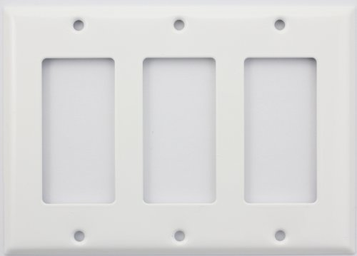 Stamped Steel Smooth White Triple Gang GFI/Rocker Switch (Triple Gfi Switchplates)