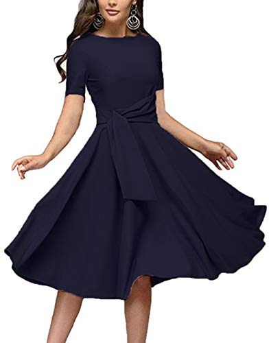 Women's Elegance Audrey Hepburn Style Ruched Dresses Round Neck 3/4 Short Sleeve Pleated Swing Midi A-line Dress with Pockets(Navy Short, - Dress Neck Pleated