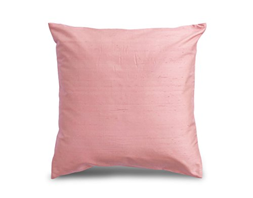 Craftbot Silk Throw Pillow Cover Peach 18x18 inch 2 Pieces 100% Pure Silk Dupioni 18 colors - Cover Silk Dupioni Pillow
